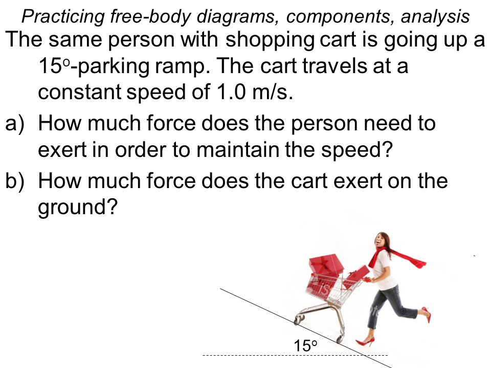 Practicing free-body diagrams, components, analysis The same person with shopping cart is going up a 15 o -parking ramp.