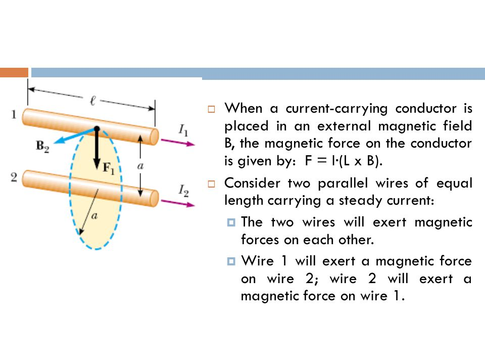  When a current-carrying conductor is placed in an external magnetic field B, the magnetic force on the conductor is given by: F = I·(L x B).