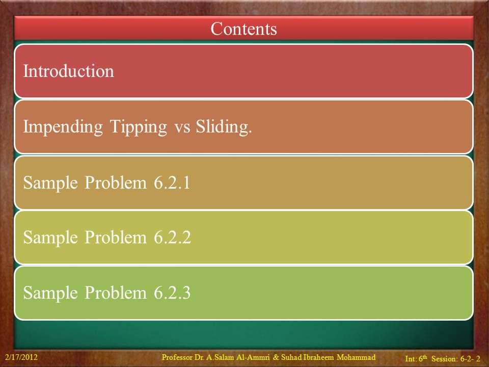 Int: 6 th Session: 6-2- 3 Impending Tipping vs Slipping 2/17/2012Professor Dr.