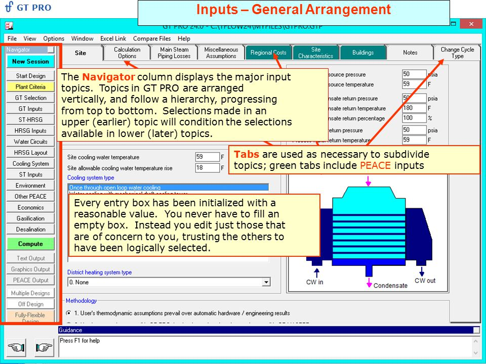 Inputs – General Arrangement The Navigator column displays the major input topics. Topics in GT PRO are arranged vertically, and follow a hierarchy, p