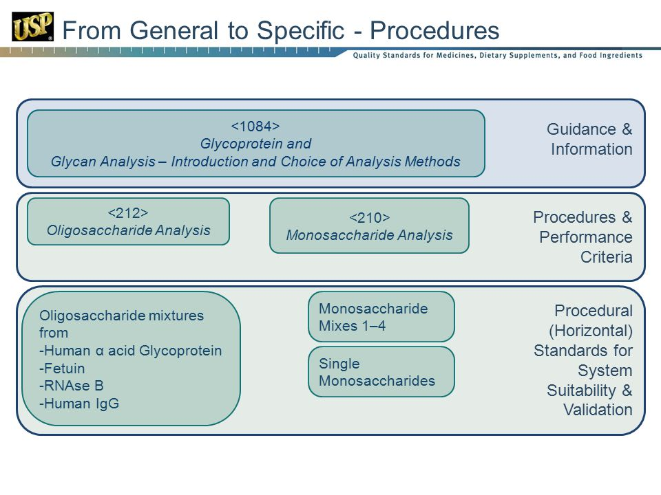 From General to Specific - Procedures Glycoprotein and Glycan Analysis – Introduction and Choice of Analysis Methods Oligosaccharide Analysis Monosaccharide Analysis Monosaccharide Mixes 1–4 Oligosaccharide mixtures from -Human α acid Glycoprotein -Fetuin -RNAse B -Human IgG Single Monosaccharides Guidance & Information Procedures & Performance Criteria Procedural (Horizontal) Standards for System Suitability & Validation
