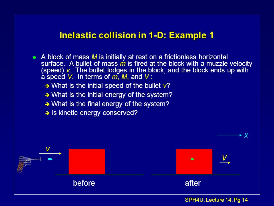 SPH4U: Lecture 14, Pg 13 Elastic vs. Inelastic Collisions l A collision is said to be elastic when kinetic energy as well as momentum is conserved bef