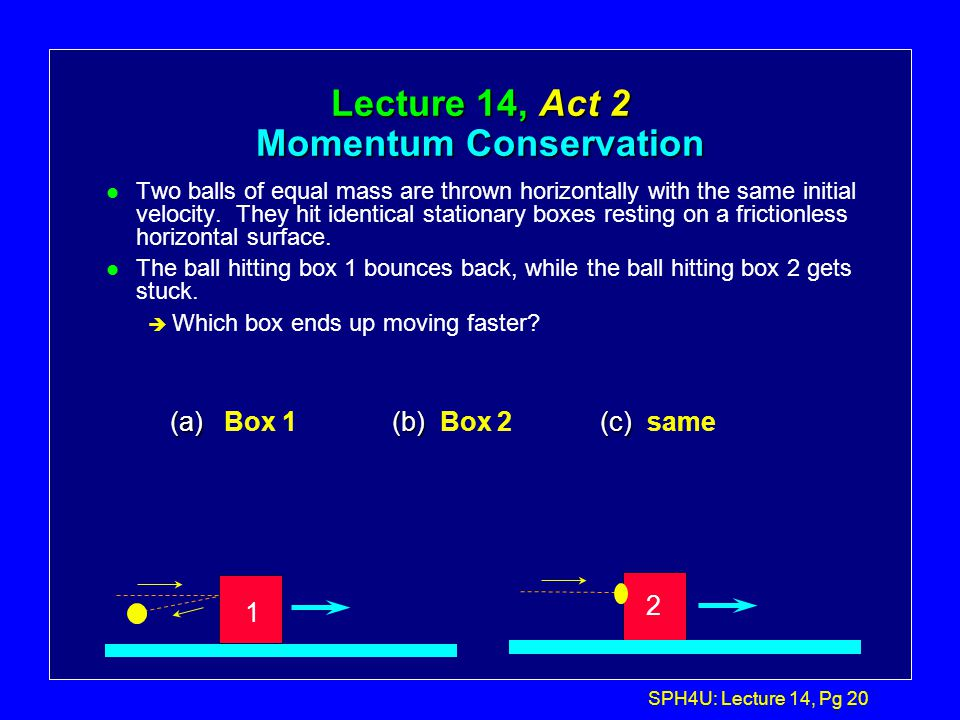 SPH4U: Lecture 14, Pg 19 Example 2... l Now consider the K.E. of the system before and after: l Before: l After: l So Kinetic energy is NOT conserved