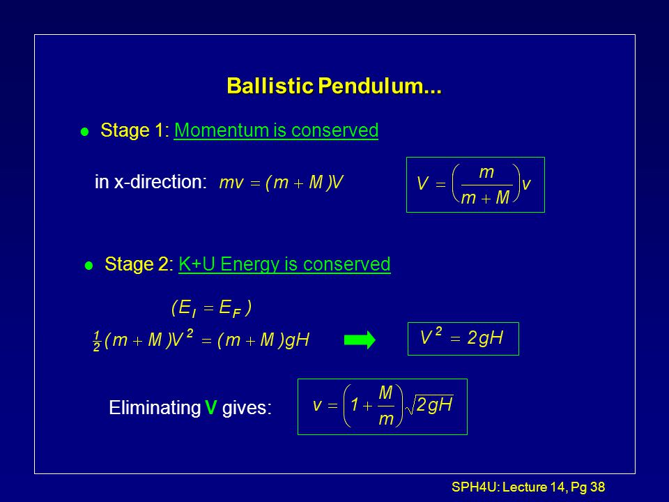 SPH4U: Lecture 14, Pg 37 Ballistic Pendulum... l Two stage process: 1. m collides with M, inelastically. Both M and m then move together with a veloci