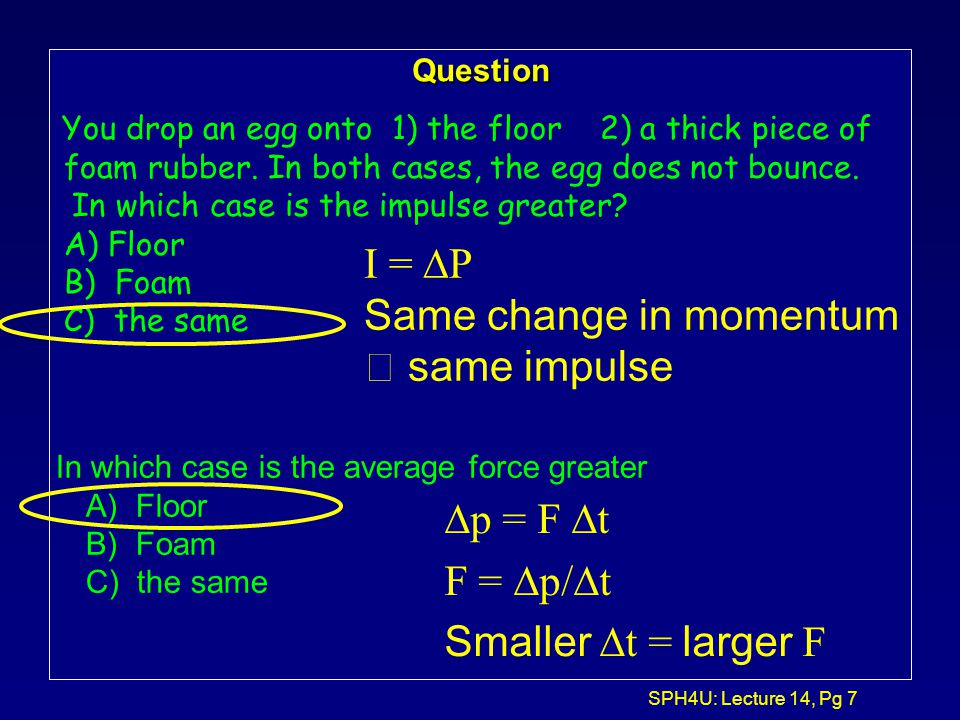 SPH4U: Lecture 14, Pg 6 Question 1 A 10 kg cart collides with a wall and changes its direction. What is its change in x-momentum  p x ? a.  30 kg m/