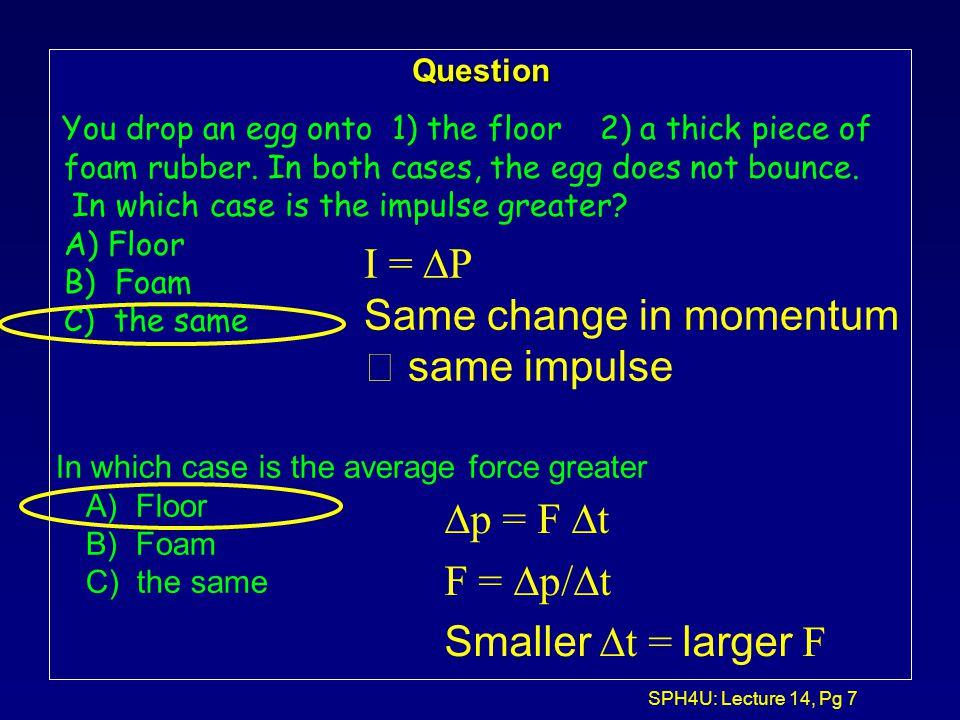 SPH4U: Lecture 14, Pg 27 Explosion (inelastic un-collision) Before the explosion: M m1m1 m2m2 v1v1 v2v2 After the explosion: