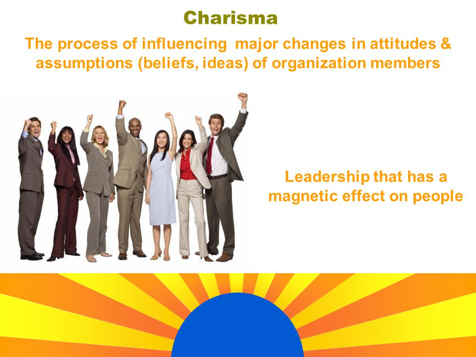 Charisma Leadership that has a magnetic effect on people The process of influencing major changes in attitudes & assumptions (beliefs, ideas) of organ