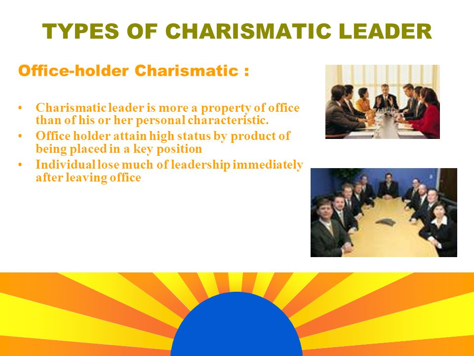 TYPES OF CHARISMATIC LEADER Office-holder Charismatic : Charismatic leader is more a property of office than of his or her personal characteristic.