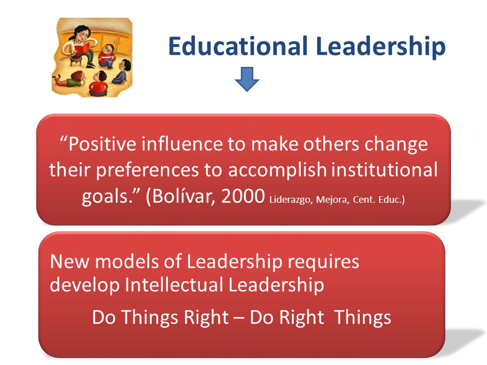 Educational Leadership Positive influence to make others change their preferences to accomplish institutional goals. (Bolívar, 2000 Liderazgo, Mejora, Cent.
