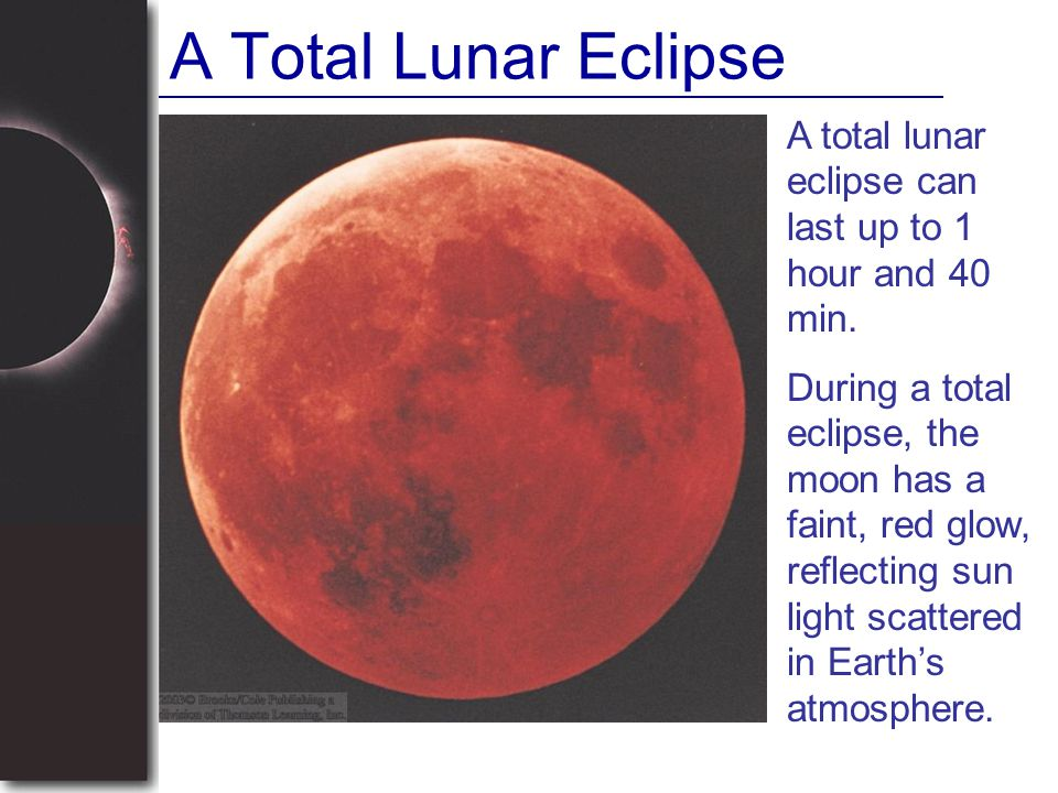 A Total Lunar Eclipse A total lunar eclipse can last up to 1 hour and 40 min.