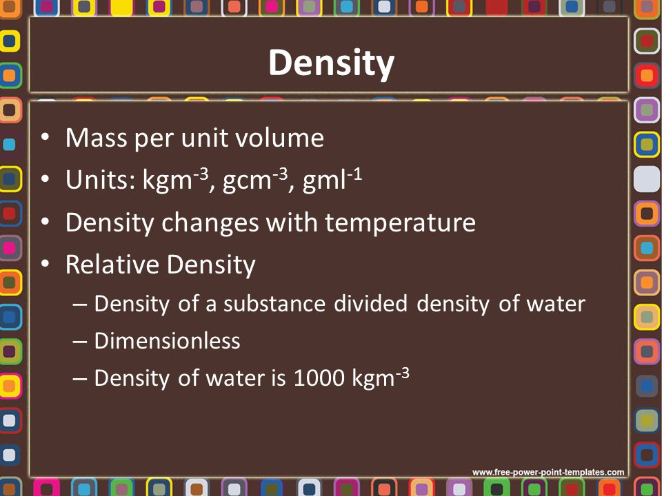 Densities of Some Substances
