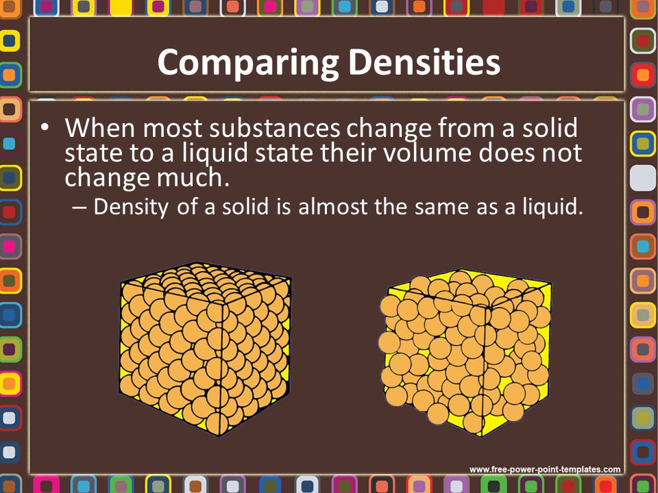 Comparing Densities When a liquid changes into a gas, the spacing between the particles increases by a factor of about ten.