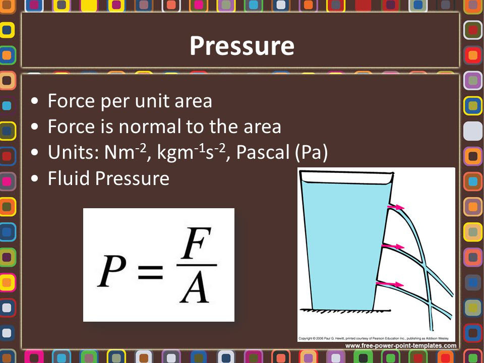 Pressure Force per unit area Force is normal to the area Units: Nm -2, kgm -1 s -2, Pascal (Pa) Fluid Pressure