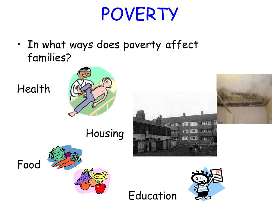 POVERTY In what ways does poverty affect families? Health Housing Food Education