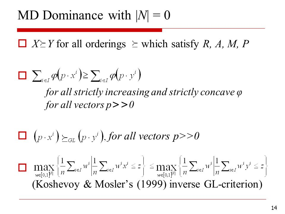 14 MD Dominance with |N| = 0  X Y for all orderings which satisfy R, A, M, P  for all strictly increasing and strictly concave φ for all vectors p >> 0  for all vectors p>>0  (Koshevoy & Mosler's (1999) inverse GL-criterion)