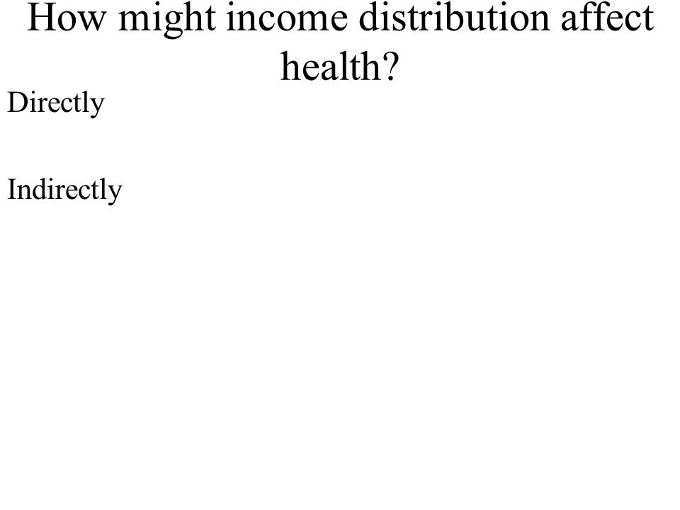 How might income distribution affect health? Directly Indirectly
