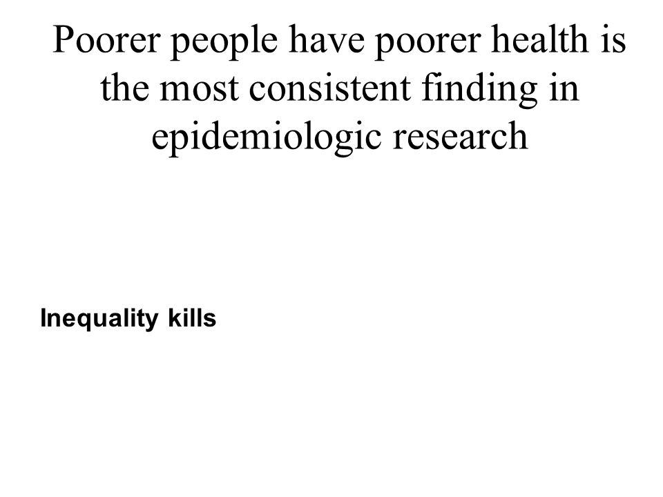 Poorer people have poorer health is the most consistent finding in epidemiologic research Inequality kills