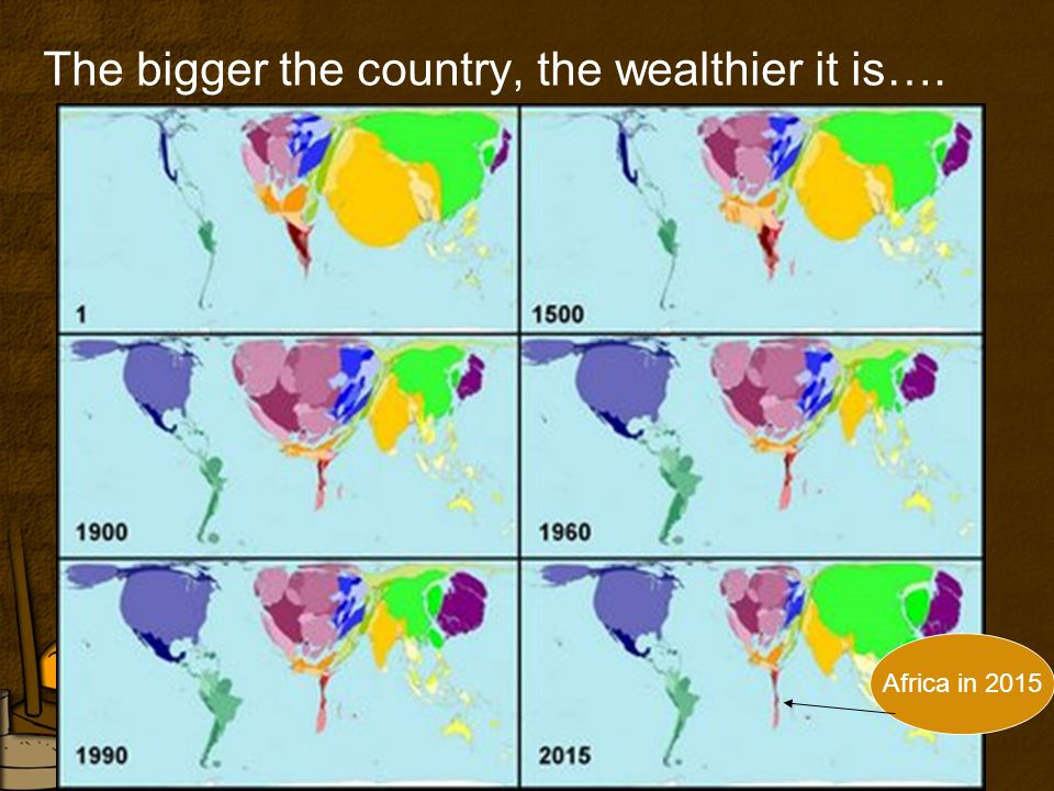 The bigger the country, the wealthier it is…. Africa in 2015