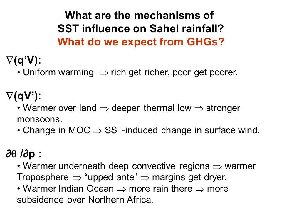  (q'V): Uniform warming  rich get richer, poor get poorer.  (qV'): Warmer over land  deeper thermal low  stronger monsoons. Change in MOC  SST-i