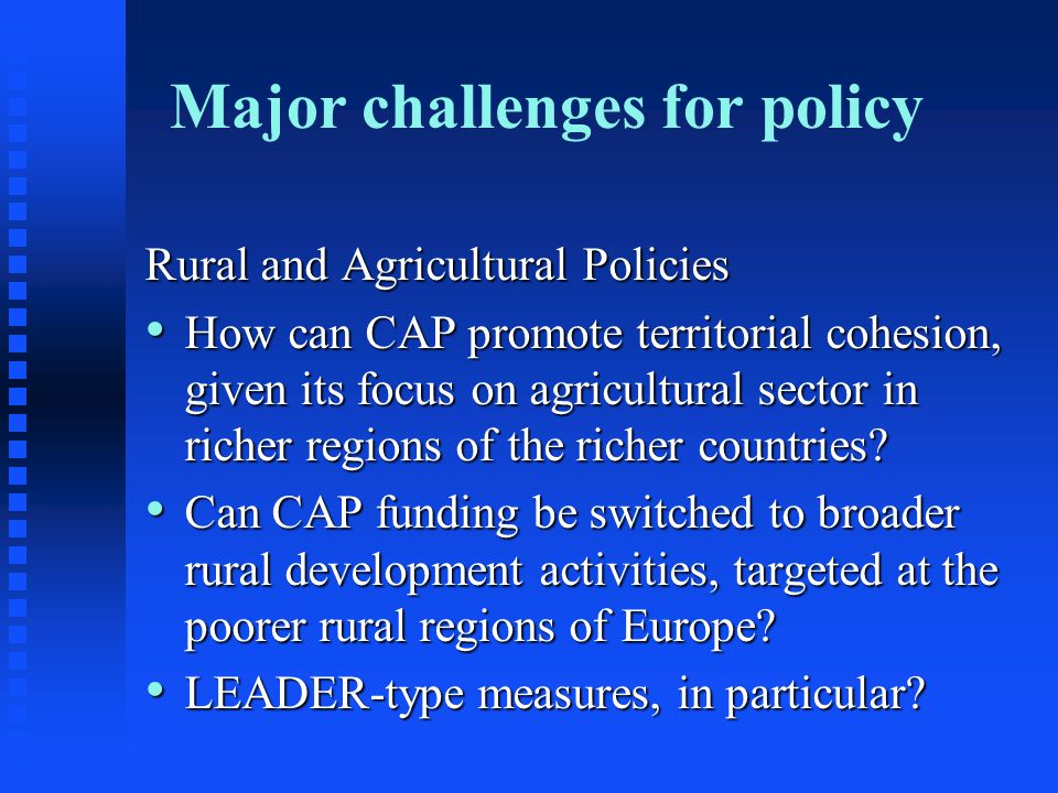 Major challenges for policy Rural and Agricultural Policies How can CAP promote territorial cohesion, given its focus on agricultural sector in richer