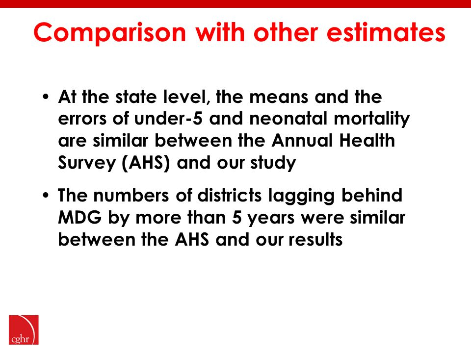 Comparison with other estimates At the state level, the means and the errors of under-5 and neonatal mortality are similar between the Annual Health Survey (AHS) and our study The numbers of districts lagging behind MDG by more than 5 years were similar between the AHS and our results