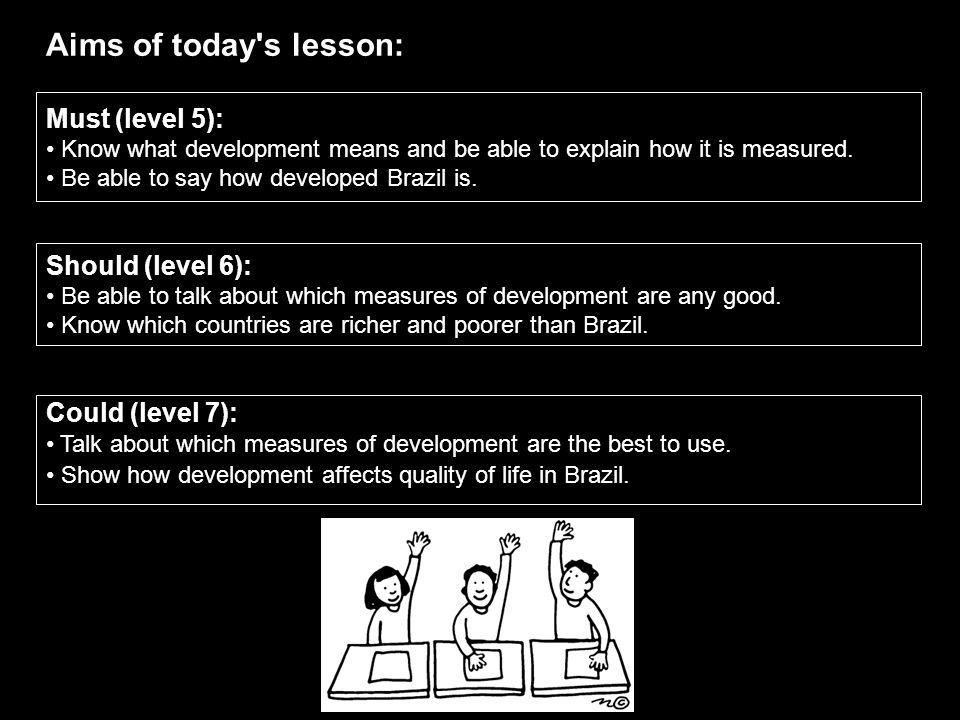 Aims of today's lesson: Must (level 5): Know what development means and be able to explain how it is measured. Be able to say how developed Brazil is.