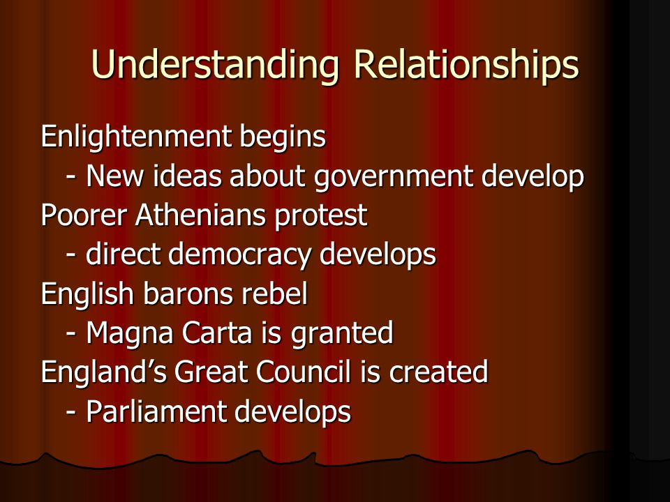 Understanding Relationships Enlightenment begins - New ideas about government develop Poorer Athenians protest - direct democracy develops English bar