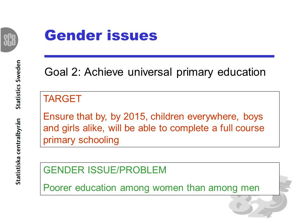 Gender issues Goal 2: Achieve universal primary education TARGET Ensure that by, by 2015, children everywhere, boys and girls alike, will be able to complete a full course primary schooling GENDER ISSUE/PROBLEM Poorer education among women than among men