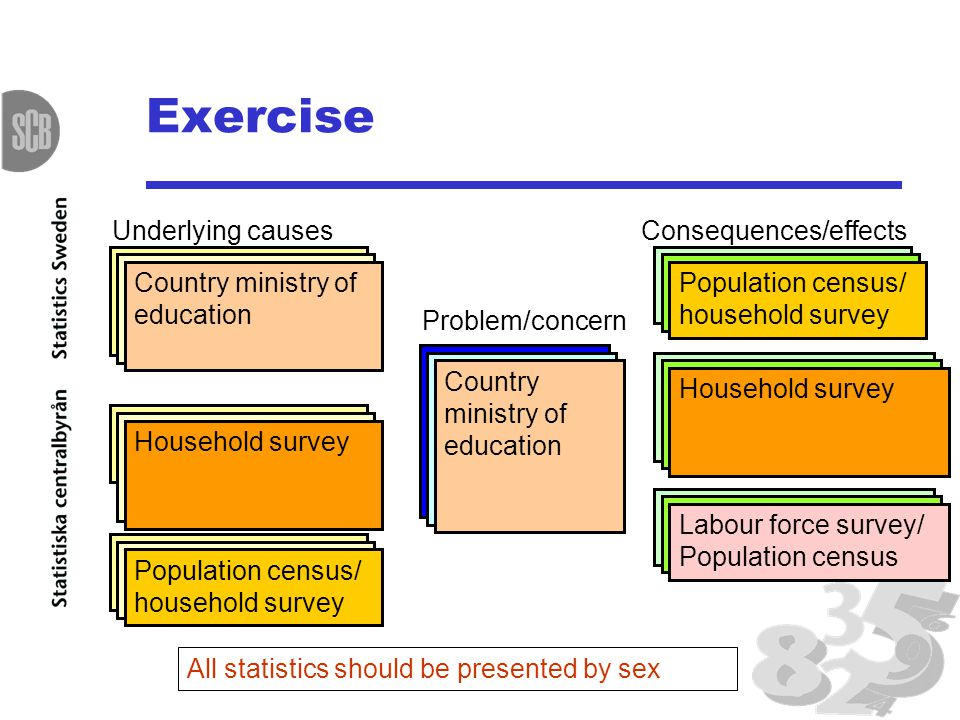 Exercise Poorer education among women than among men Problem/concern Family's preference for investing in sons' education Underlying causes Girls work in the household Social and cultural barriers Consequences/effects Women's higher illiteracy Women's lower access to information and media Women's lower access to paid work Proportion of pupils starting grade 1 who reach grade 5 Net enrolment ratio in primary education Time girls and boys spend working in the household Fertility rate by age Literacy rate of 15- 24 year-olds 15-24 years old with correct knowledge of HIV/AIDS All statistics should be presented by sex Women and men in wage employment Country ministry of education Population census/ household survey Household survey Population census/ household survey Labour force survey/ Population census