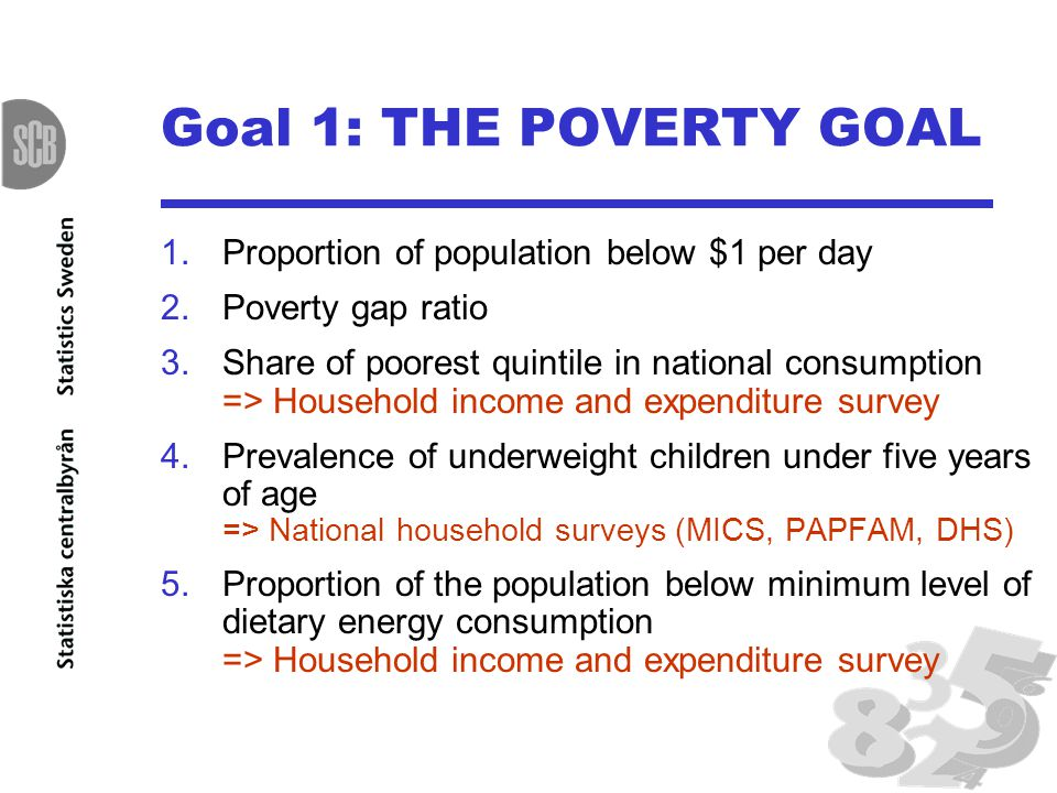 Goal 1: THE POVERTY GOAL 1.Proportion of population below $1 per day 2.Poverty gap ratio 3.Share of poorest quintile in national consumption => Household income and expenditure survey 4.Prevalence of underweight children under five years of age => National household surveys (MICS, PAPFAM, DHS) 5.Proportion of the population below minimum level of dietary energy consumption => Household income and expenditure survey