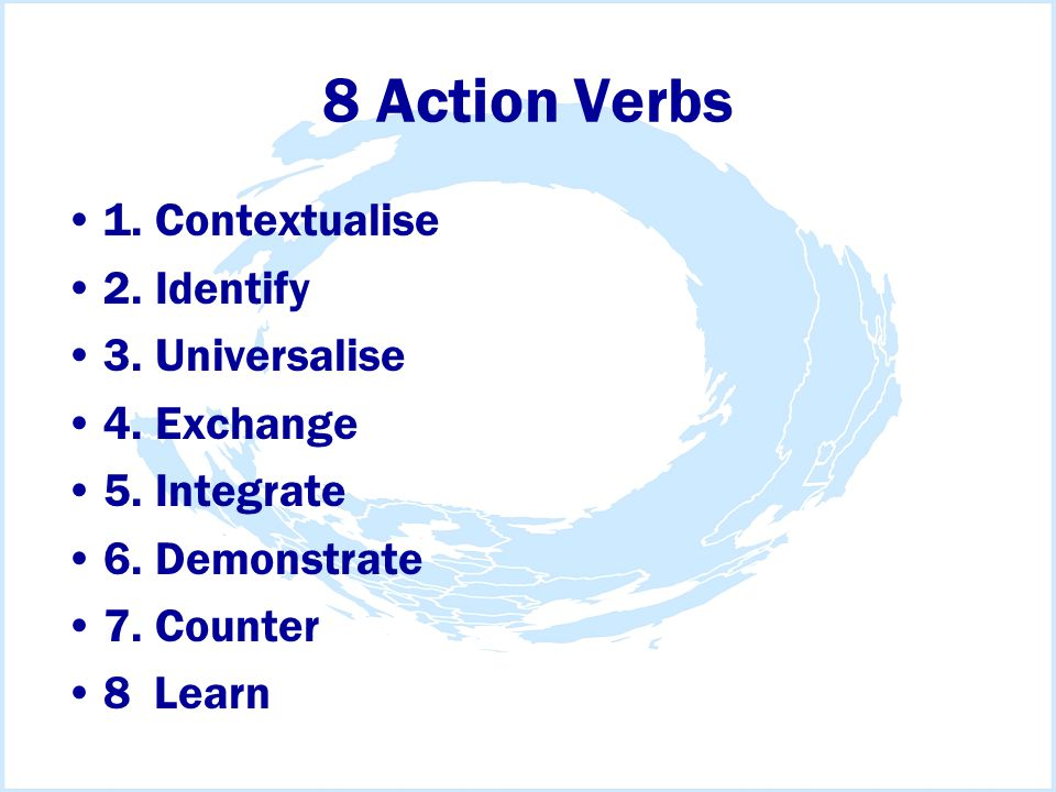 8 Action Verbs 1. Contextualise 2. Identify 3. Universalise 4.