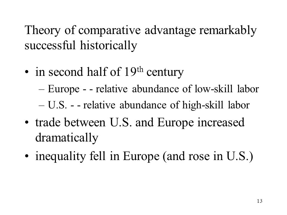 13 Theory of comparative advantage remarkably successful historically in second half of 19 th century –Europe - - relative abundance of low-skill labo