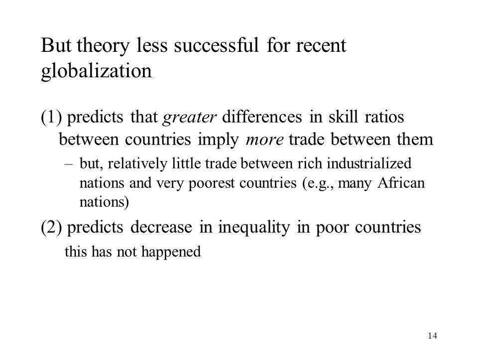 14 But theory less successful for recent globalization (1) predicts that greater differences in skill ratios between countries imply more trade betwee