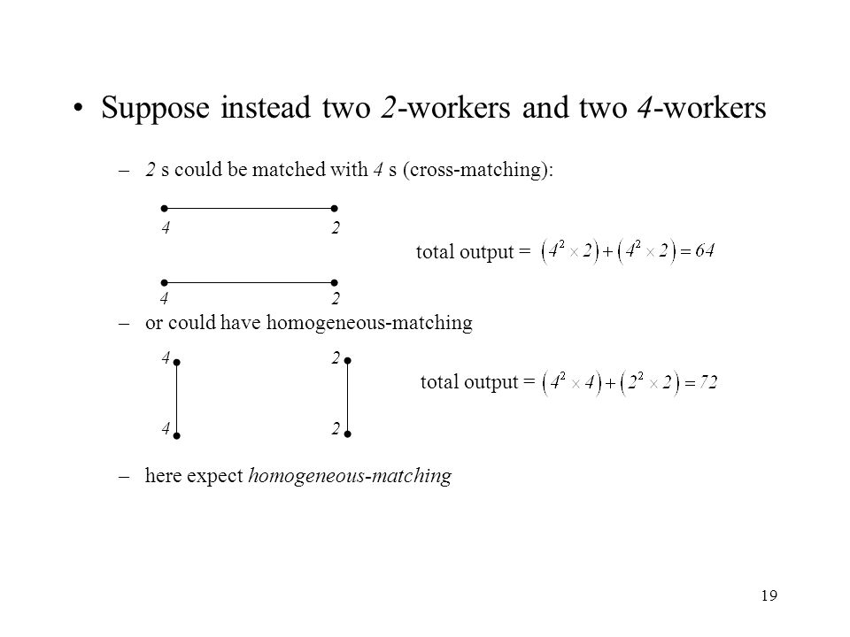 19 Suppose instead two 2-workers and two 4-workers –2 s could be matched with 4 s (cross-matching): 4242 total output = 42 –or could have homogeneous-
