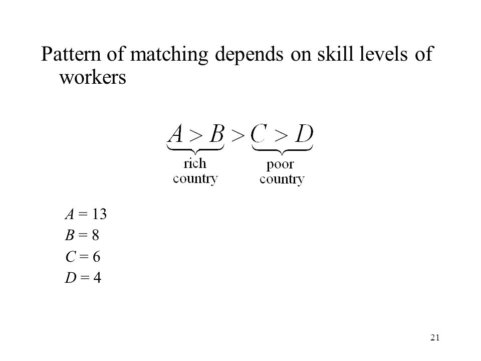 21 Pattern of matching depends on skill levels of workers A = 13 B = 8 C = 6 D = 4