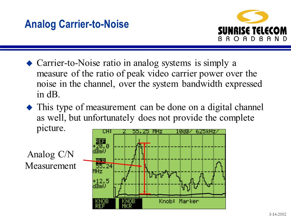 3-14-2002 Analog Carrier-to-Noise u Carrier-to-Noise ratio in analog systems is simply a measure of the ratio of peak video carrier power over the noise in the channel, over the system bandwidth expressed in dB.