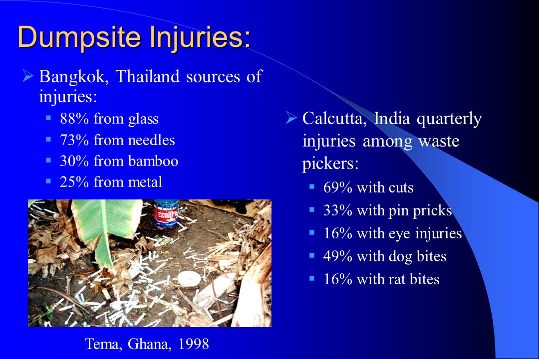 Dumpsite Injuries:  Calcutta, India quarterly injuries among waste pickers:  69% with cuts  33% with pin pricks  16% with eye injuries  49% with dog bites  16% with rat bites  Bangkok, Thailand sources of injuries:  88% from glass  73% from needles  30% from bamboo  25% from metal Tema, Ghana, 1998