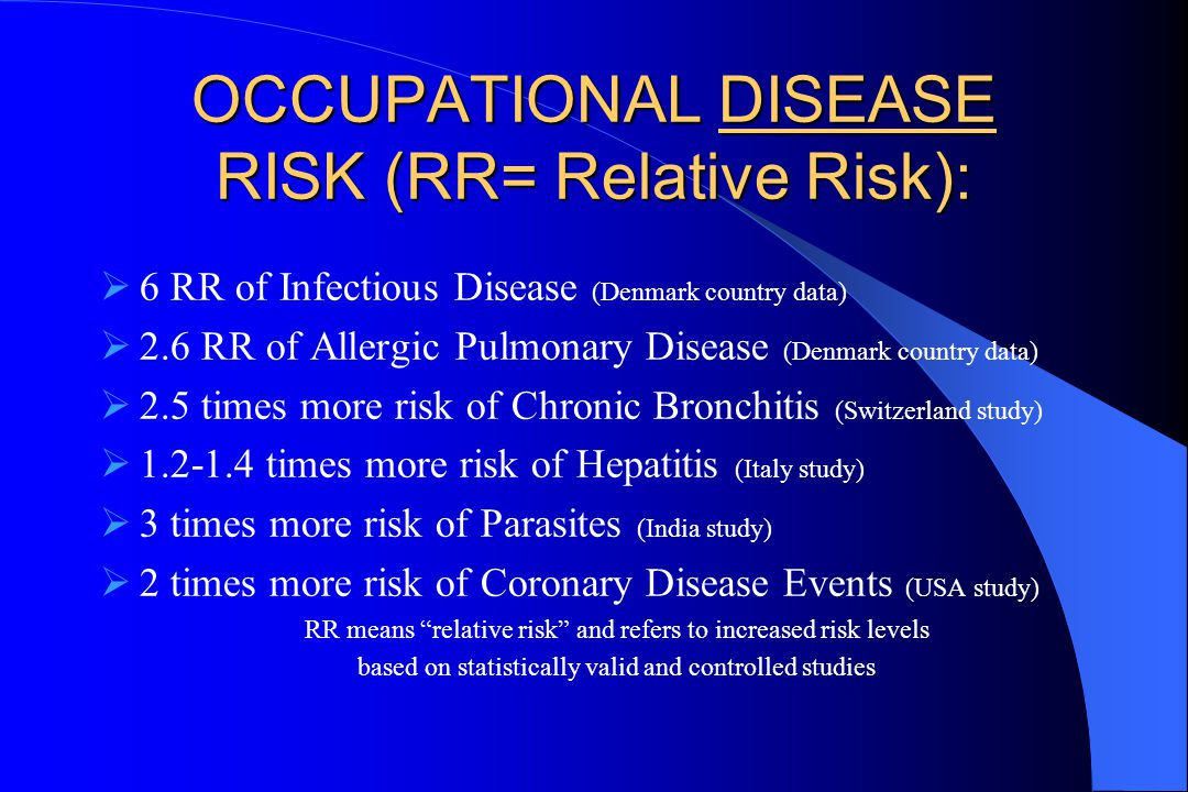 OCCUPATIONAL DISEASE RISK (RR= Relative Risk):  6 RR of Infectious Disease (Denmark country data)  2.6 RR of Allergic Pulmonary Disease (Denmark country data)  2.5 times more risk of Chronic Bronchitis (Switzerland study)  1.2-1.4 times more risk of Hepatitis (Italy study)  3 times more risk of Parasites (India study)  2 times more risk of Coronary Disease Events (USA study) RR means relative risk and refers to increased risk levels based on statistically valid and controlled studies