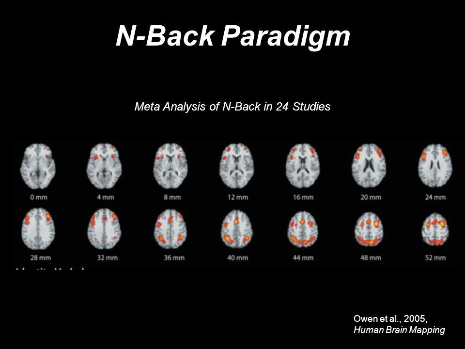 N-Back Paradigm Owen et al., 2005, Human Brain Mapping Meta Analysis of N-Back in 24 Studies