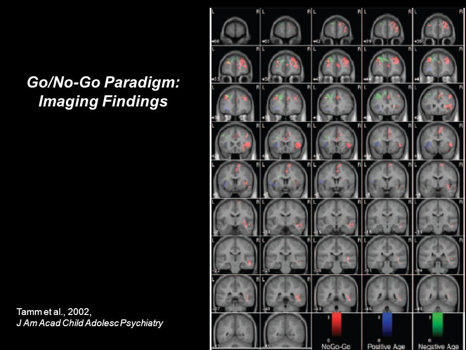 Go/No-Go Paradigm: Imaging Findings Tamm et al., 2002, J Am Acad Child Adolesc Psychiatry