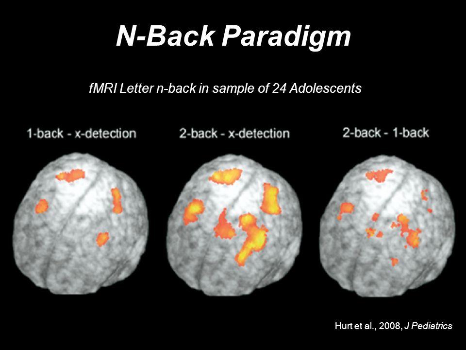N-Back Paradigm Hurt et al., 2008, J Pediatrics fMRI Letter n-back in sample of 24 Adolescents