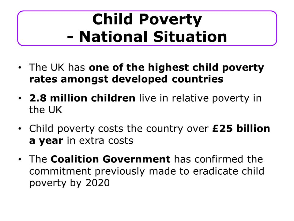 The UK has one of the highest child poverty rates amongst developed countries 2.8 million children live in relative poverty in the UK Child poverty costs the country over £25 billion a year in extra costs The Coalition Government has confirmed the commitment previously made to eradicate child poverty by 2020 Child Poverty - National Situation