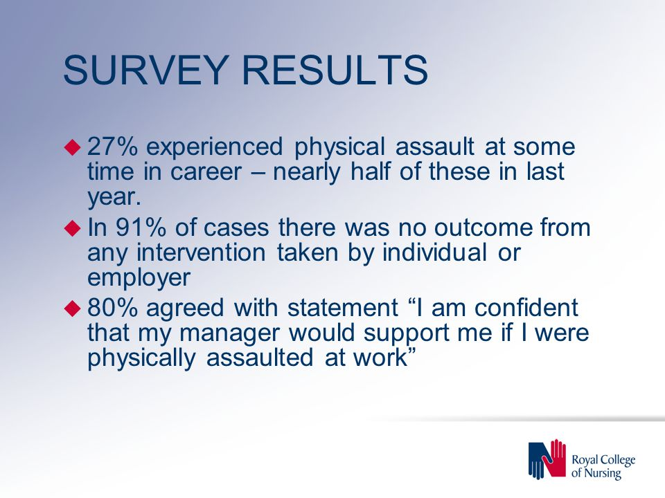 SURVEY RESULTS u 27% experienced physical assault at some time in career – nearly half of these in last year.