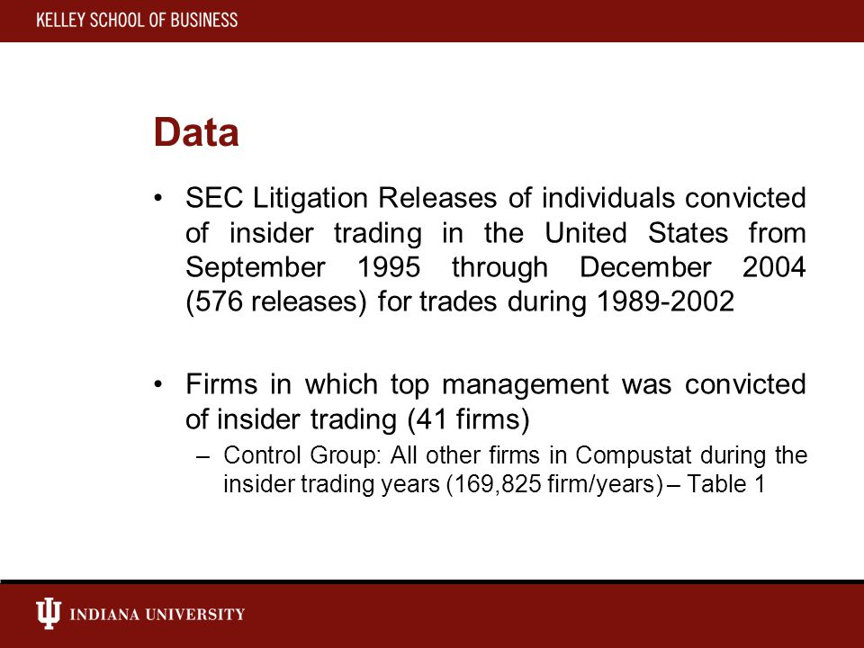 Data SEC Litigation Releases of individuals convicted of insider trading in the United States from September 1995 through December 2004 (576 releases) for trades during 1989-2002 Firms in which top management was convicted of insider trading (41 firms) –Control Group: All other firms in Compustat during the insider trading years (169,825 firm/years) – Table 1