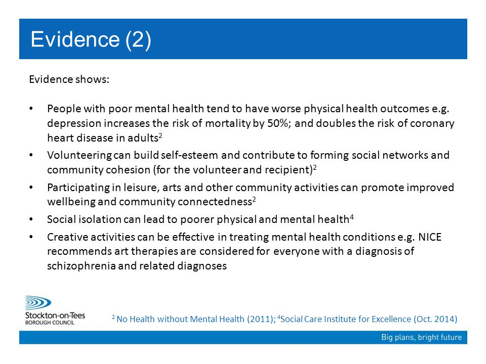Evidence shows: People with poor mental health tend to have worse physical health outcomes e.g.