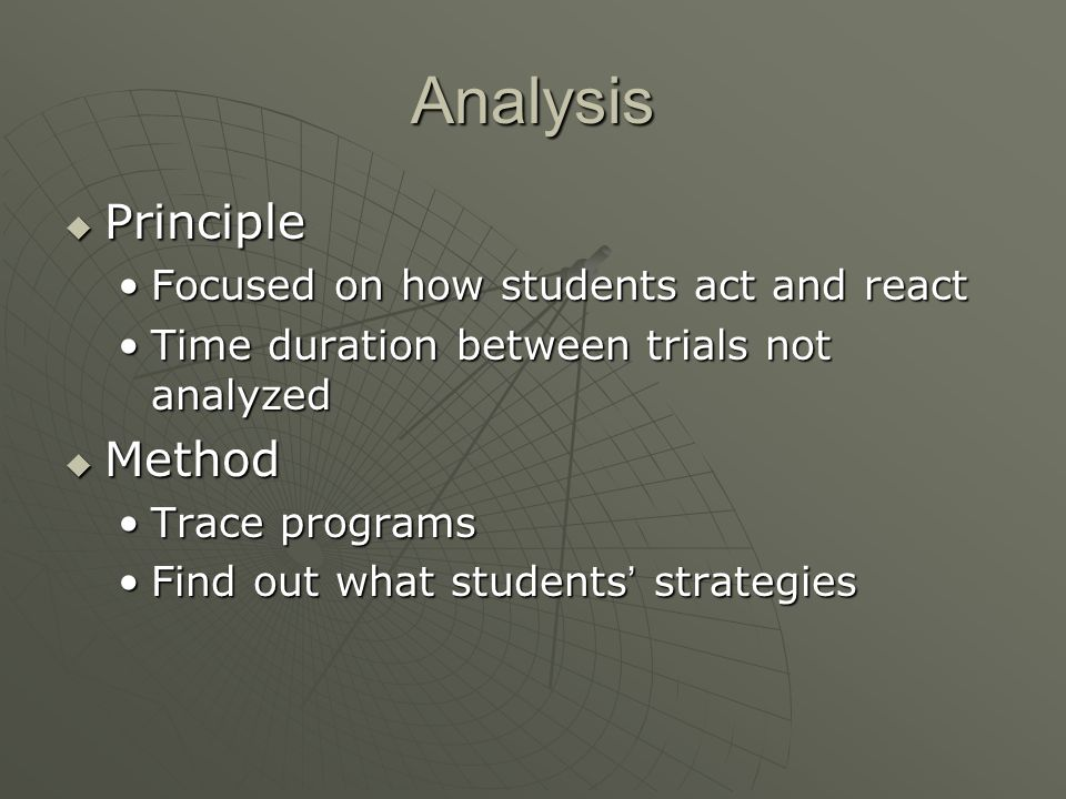 Analysis  Principle Focused on how students act and reactFocused on how students act and react Time duration between trials not analyzedTime duration between trials not analyzed  Method Trace programsTrace programs Find out what students ' strategiesFind out what students ' strategies