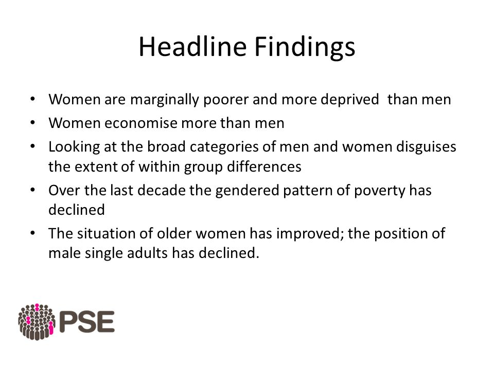 Headline Findings Women are marginally poorer and more deprived than men Women economise more than men Looking at the broad categories of men and women disguises the extent of within group differences Over the last decade the gendered pattern of poverty has declined The situation of older women has improved; the position of male single adults has declined.