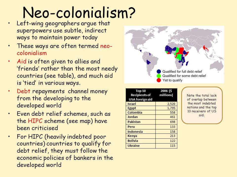 Neo-colonialism? Left-wing geographers argue that superpowers use subtle, indirect ways to maintain power today These ways are often termed neo- colon
