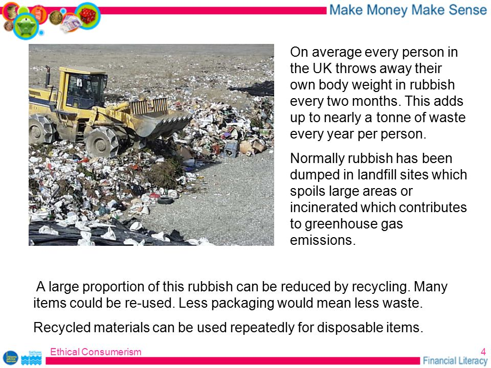 Ethical Consumerism4 A large proportion of this rubbish can be reduced by recycling.
