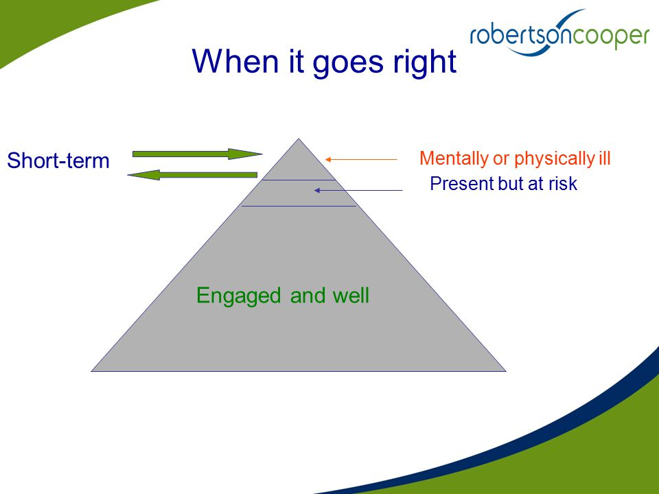When it goes right Mentally or physically ill Present but at risk Engaged and well Short-term